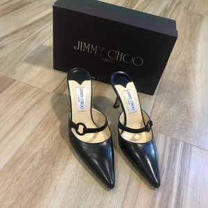 Jimmy Choo Black Leather Mules